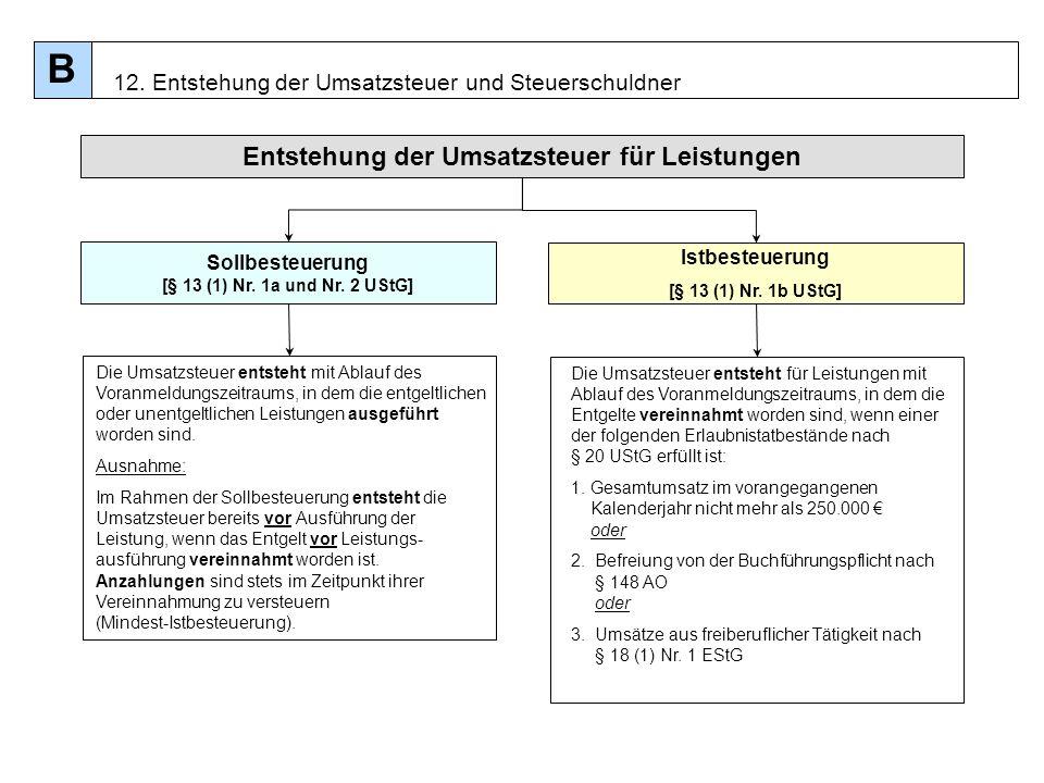 Sollbesteuerung [§ 13 (1) Nr. 1a und Nr. 2 UStG]